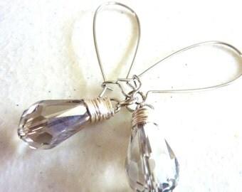 Grey Silver Crystal Wire Wrapped Drop Earrings