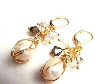 Ivory Freshwater Pearls Wire Wrapped Gold Cluster Earrings With Swarovski Crystals