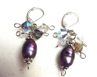 Purple Freshwater Pearls Cluster Earrings With Swarovski Crystals