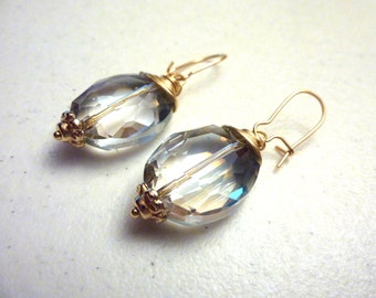 Clear Crystal Gold Wire Wrapped Drop Earrings
