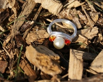 The Hunger Games Inspired Peeta's Pearl and The Girl on Fire- Silver Wire Wrapped Ring