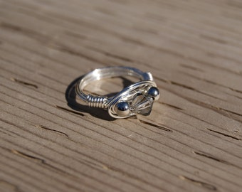 The Hunger Games District 2 Inspired- Silver Wire Wrapped Ring