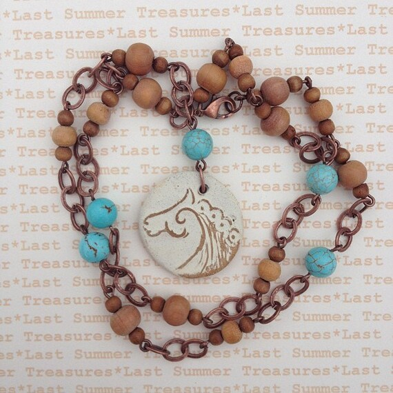 Celtic Horse Pendant with Wooden and Crackled Turquoise colored bead necklace 21inches