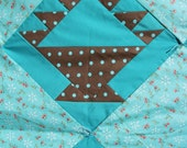 Brown and Teal Blue May Basket Quilt