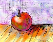 Red Apple Kitchen Art, Fruit Still Life, Thanksgiving GIFT, Red Yellow Purple, Wall Decor For Chef, Food or Kitchen Decor, 8 x 10 Print