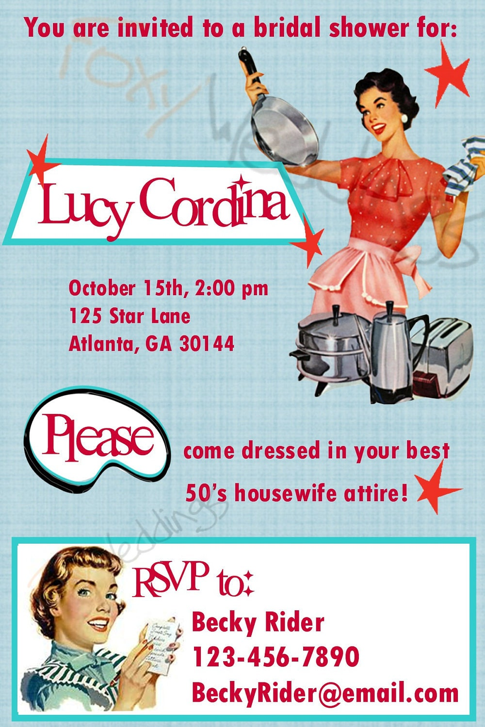 Retro Housewife Diy Printable Invitation By Foxyandstylish