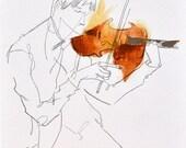 Violinist Series – 1 of 4 - 8.5 x 11 in. art print / musician, music, portrait, painting, violin