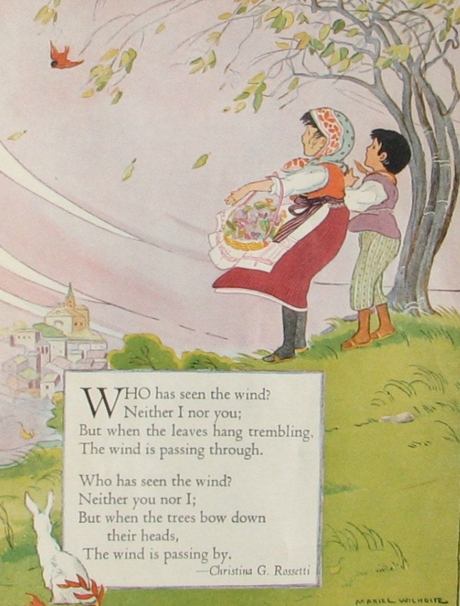 Childrens Poem Who has Seen the Wind illustrated