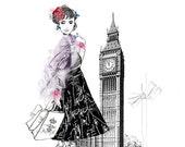 Vintage London - Fashion Illustration Art Print
