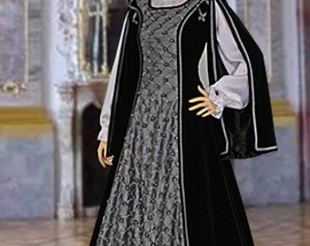 "Medieval Renaissance Dress Gown Handmade ""Silver Rose"" for Queen or Noble, with White Pearls, Multiple Colors Available"