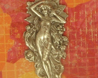 Goddess in a Flowing Drape Surrounded by Flowers, Water and the Rising Sun,  63mm, Repousse Piece, Stunning,Ox Brass