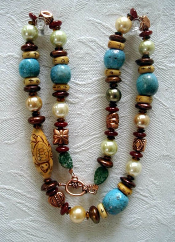 Raku Pottery Pearl Raku Bead Necklace Bone Turtle Ceramic Turquoise Bead 23""