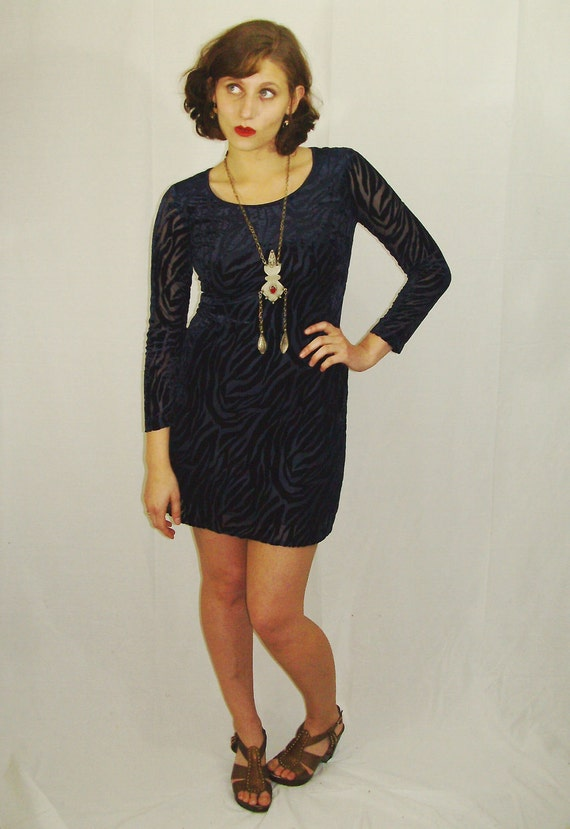 S A L E   Midnight.. Vtg 80s Burnout VELVET Zebra Dress
