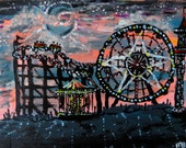 Summer Carnival - original acrylic painting. Silhouette of carnival rides and lights against a sunset.