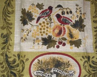 Vintage  Linen Tea Towel Kay Dee 1980s American Stencilling