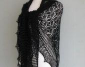 SALE Large black triangular lace shawl