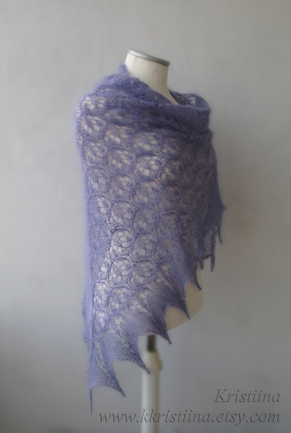 Hand knitted luxury kidsilk Lavender lace shawl
