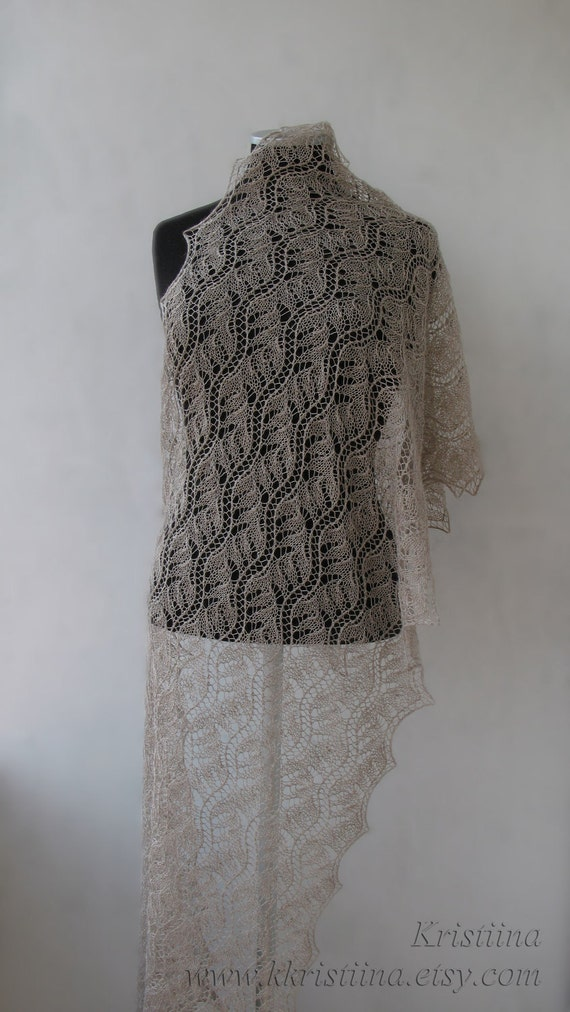 Beige luxurious hand knitted lace shawl - stole