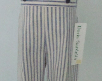 Boys Pant with Suspender Straps in Crème and Navy Ticking Stripe Denim - size 4T