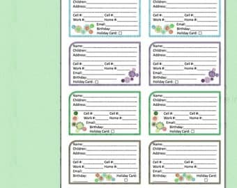 Address Book Contact List PDF Printable Digital Download - Watercolor Hana