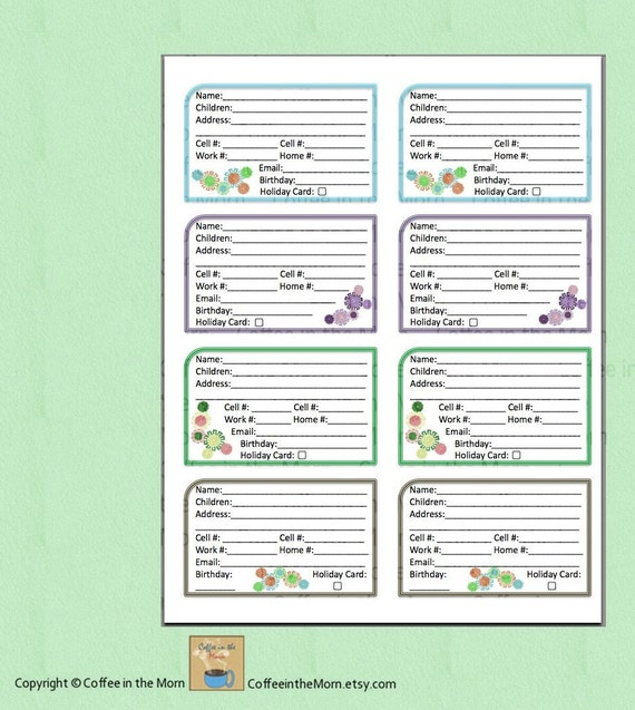 Address Book Contact List PDF Printable Digital Download - Watercolor ...