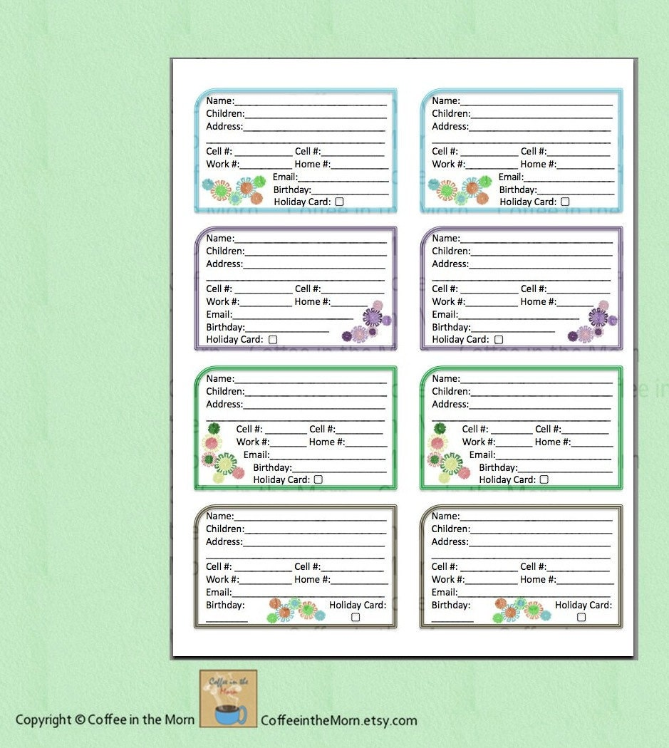 telephone address book template - address book contact list pdf printable digital download