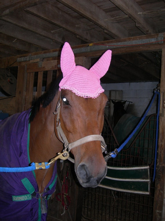 Pink Crocheted Horse Show and Fly Bonnet