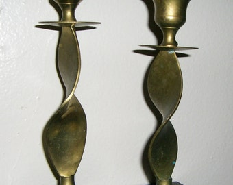 Vintage Candle Holders, Brass, Candlesticks, Solid Brass, Taper Candle Holder, Twisted Stem, Set of Two