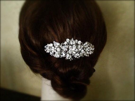 Vintage Inspired crystal Hair Comb, bridal hair comb, wedding hair accessories, bridal hair, rhinestone comb - Made to order