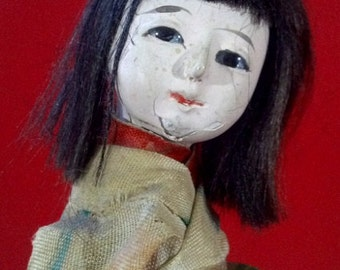 "Vintage Antique Asian Japanese Geisha Kimono Doll from Japan (stands 7.25"" tall)"