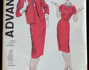 9173 Advance Vintage Sewing Pattern 1960's Misses Women's Mad Men Cocktail Dress Jacket Uncut Complete