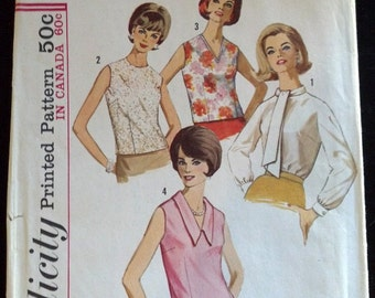 5441 No2 Simplicity Vintage Sewing Pattern 1964 1960's Mod Crew V-Neck Peter Pan Collar Ascot Blouse Shirt Top Uncut Complete