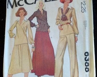 6388 McCall's Vintage Easy Sewing Pattern 1978 1970's Plus Size Disco Women's Suit Skirt Slacks Pants Blouse Cut Complete