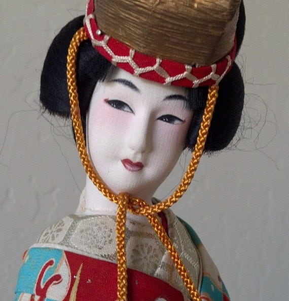 Vintage Asian Cloth Geisha Kimono Doll in Giant Glass Display Box Case with Poseable Fingers