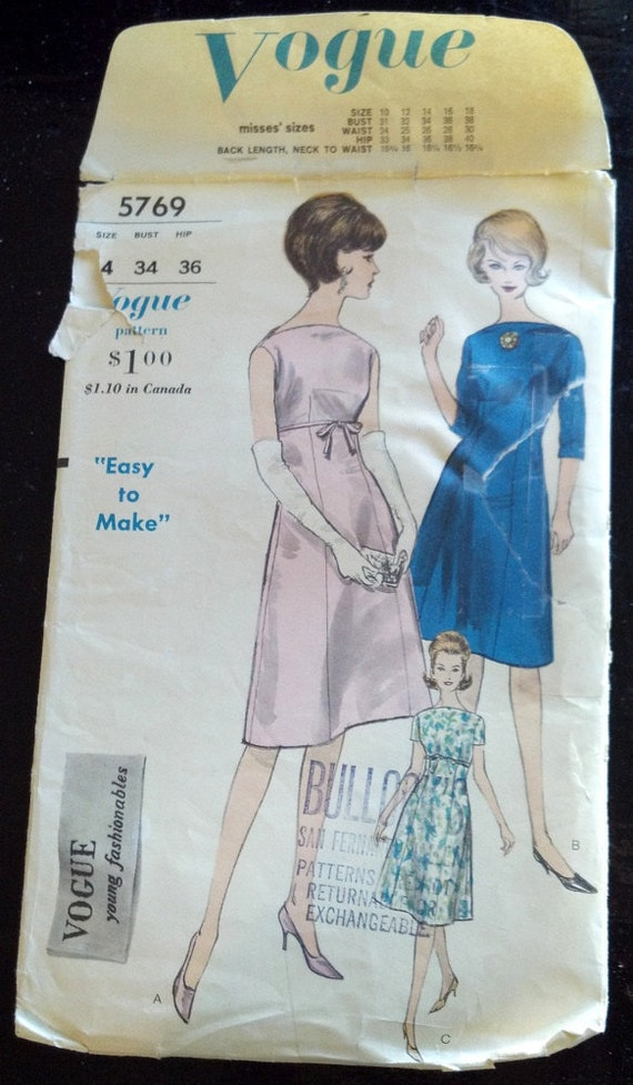 5769 Vogue Vintage Sewing Pattern 1960's Easy to Make Sew Mad Men A-Line Skirt 3/4 Short Sleeve Sleevless Dress Cut Complete