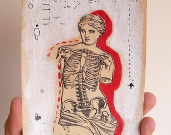 Anatomical Collage Beauty is Inside red, white, black OOAK