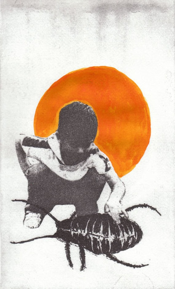 Hand colored etching, kid cockroach in orange and black and white