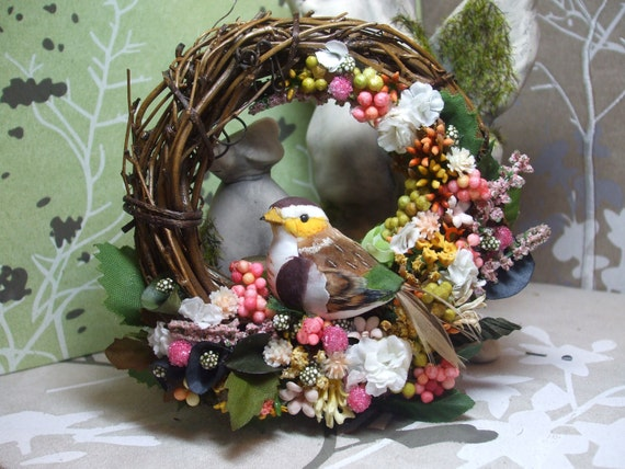 "ON SALE mother bird 5"" grapevine wreath flower arrangement magnet yellow and pink"