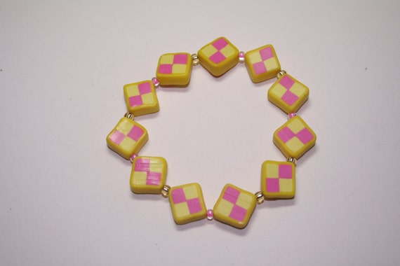 Battenburg Cake Bracelet and Earrings, Miniature Food, Fimo Polymer Clay