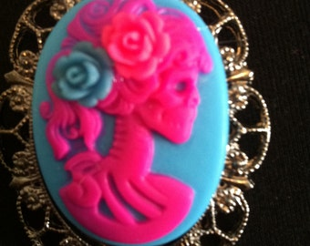 Bright pink and blue lolita zombie girl Cameo necklace