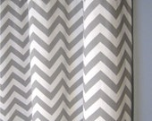 "84 Inch Blackout Lined Grey Zig Zag Grommet Curtains - Two Chevron Curtain Panels - 25""x84"" - FREE SHIPPING"