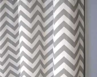 "25 x 96 Inch Blackout Lined Grey Zig Zag Grommet Curtains - Two Chevron Curtain Panels - 25""x96"" - FREE SHIPPING"