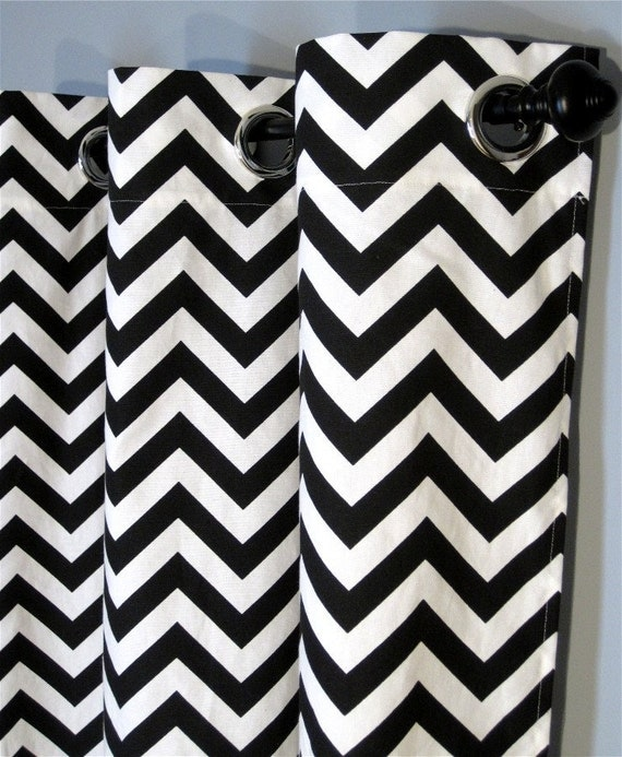 84 black and white zig zag curtains with grommets two