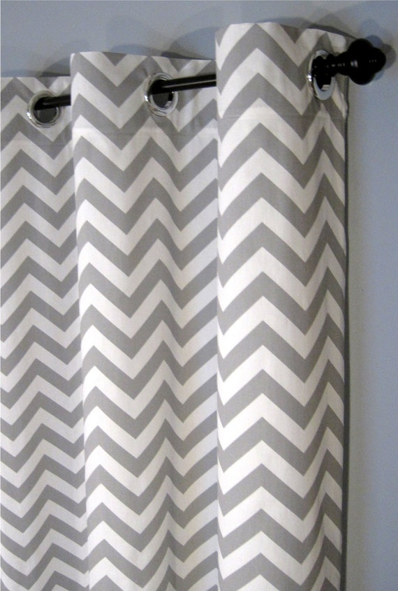 84 Inch Blackout Lined Grey Zig Zag Grommet Curtains - Two Chevron ...