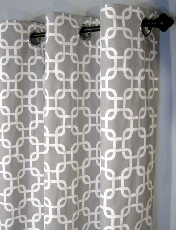 "Grey and White Gotcha Curtains with Grommets - Two Curtain Panels - 50""x84"" - FREE SHIPPING"