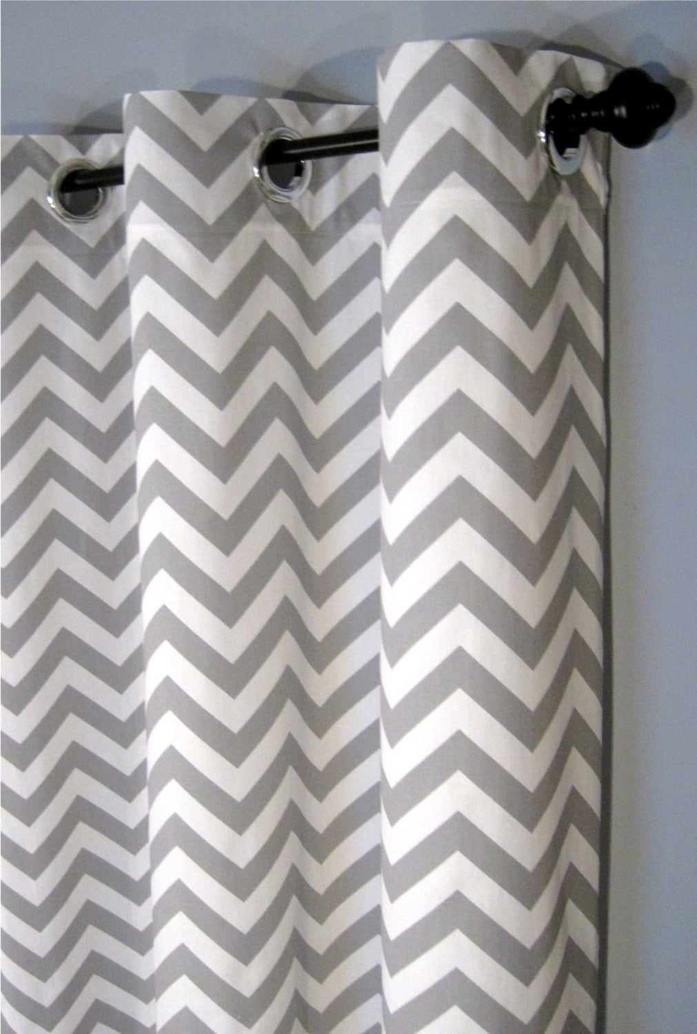 25 X 96 Inch Blackout Lined Grey Zig Zag Grommet Curtains