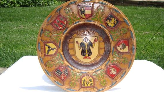 Vintage Hand-carved German Wooden Plate