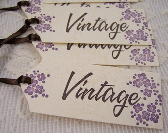 Vintage Gift Tags, Floral Tags, Party Favor Tags, Wine Bottle Tags - Set of 6