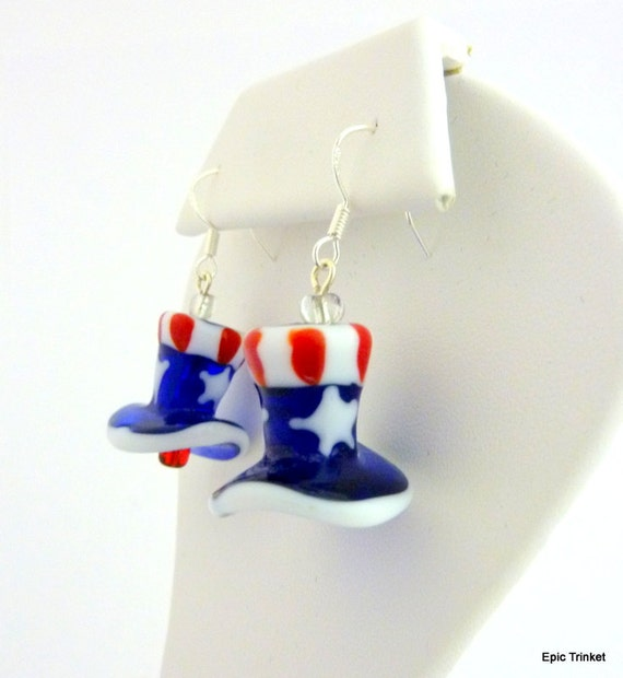 4th of July Earrings Red White and Blue Patriotic Glass Lampwork Earrings 4th of July Jewelry