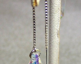15mm Crystal Teardrops on Sterling Silver Threader Earrings   - Free Shipping in the US -1265
